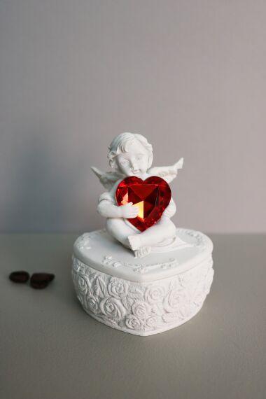 Ängel Box med Glas Hjärta