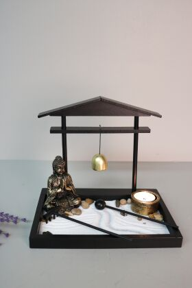 Buddha Zen Garden Ljusstake med Gong Antik Guld