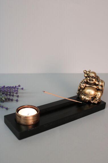 Buddha Happy Monk Rökelsehållare Ljusstake