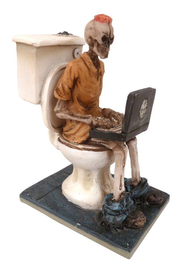 Dödskalle på Toalettstol