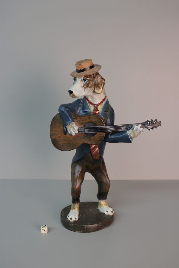 iOne Art Dog with Hat Playing Guitar