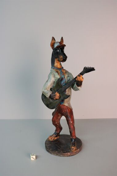 iOne Art Dog with Cap Playing Guitar