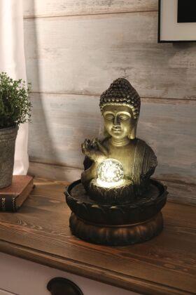 Fontän Buddha Vitarka Mudra med LED Belysning