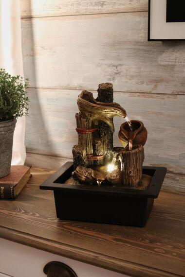 Fontän Wood med LED Belysning