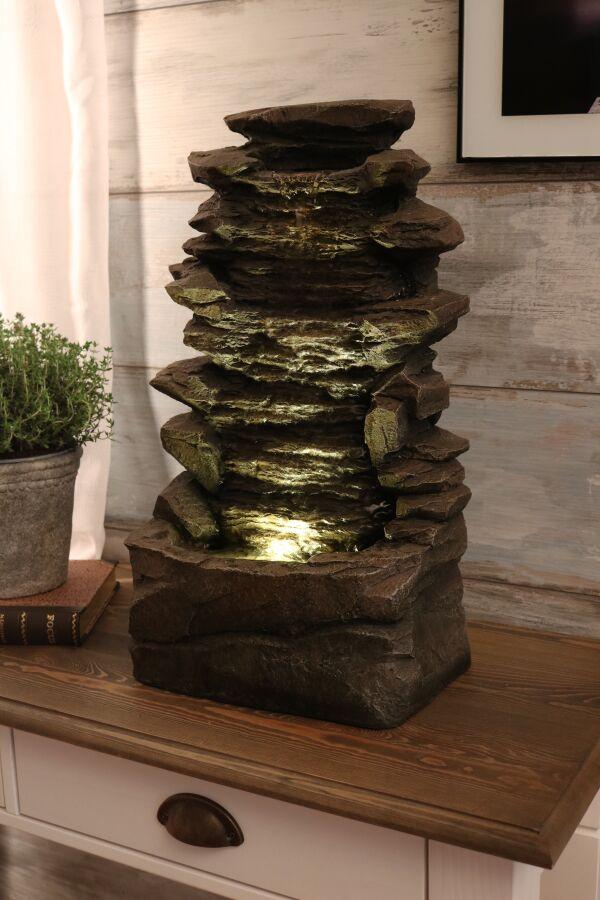 Fontän Rock med LED Belysning