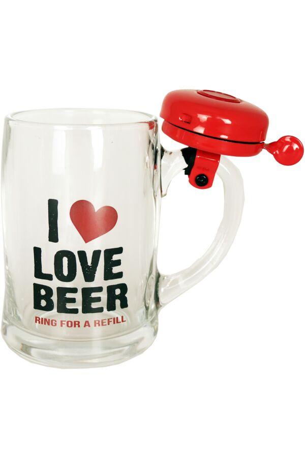 Ölglas I Love You Med Ringklocka