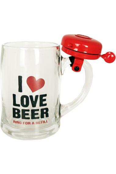 Ölglas I Love Beer med Ringklocka