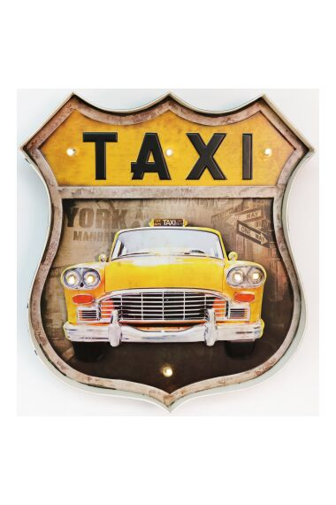 Retro Metallskylt New York Taxi LED Light