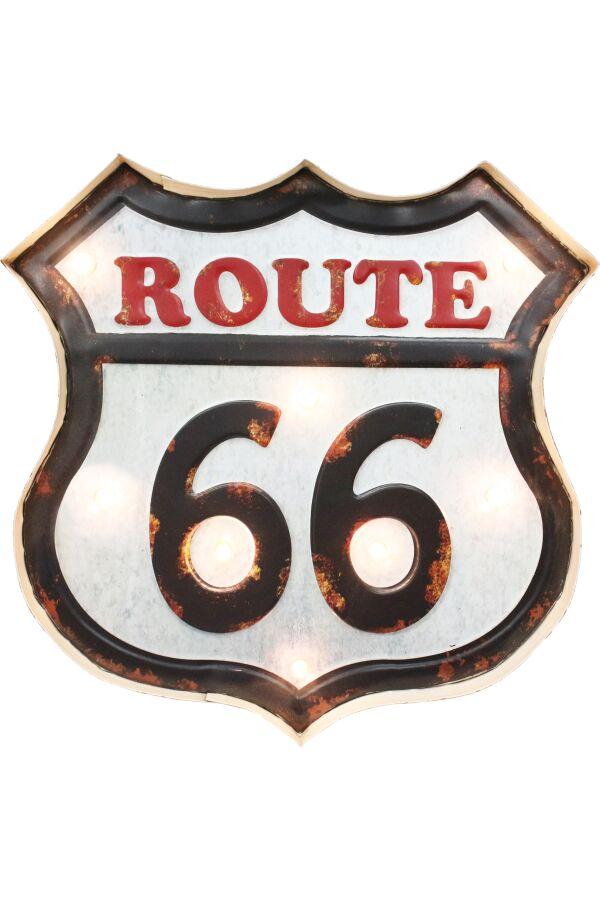 Retro Metall Skylt Route 66 LED Light