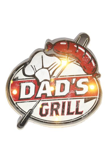 Retro Metallskylt Dad`s Grill LED Light