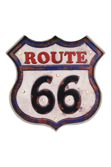 Retro Metallskylt Route 66 LED Light