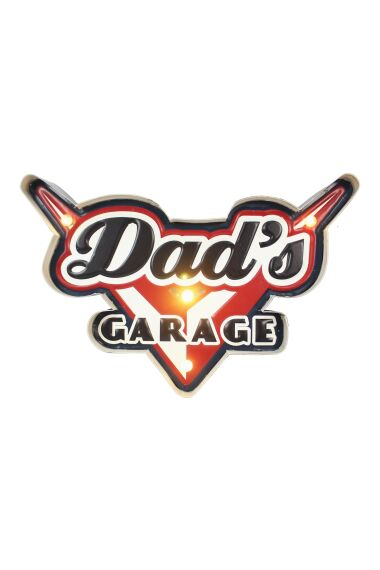 Retro Metallskylt Dad`s Garage LED Light