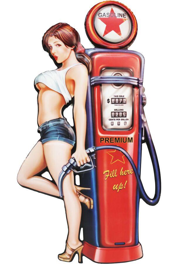 Retro Metall Skylt Gasoline Girl 3D