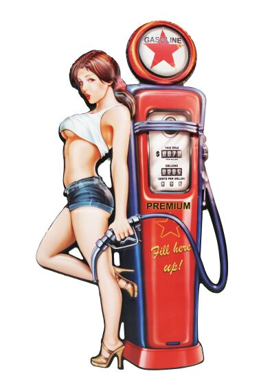 Retro Metall Skylt Gasoline Girl 3D