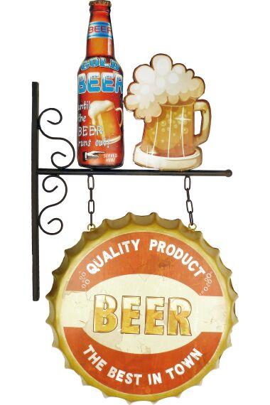 Retro Metallskylt Beer Dubbelsidig