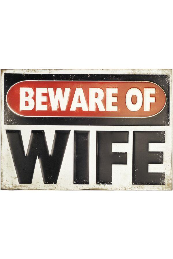 Retro Metallskylt Beware of Wife 3D