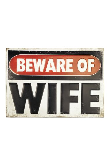 Retro Metallskylt Beware of Wife 3D