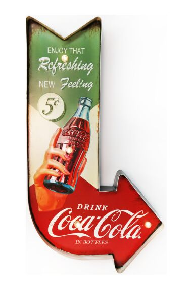 Retro Metallskylt Refreshing Coke LED Light