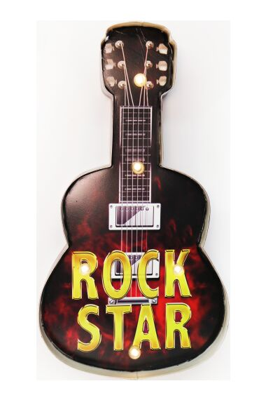 Retro Metallskylt Guitar Rock Star LED Light