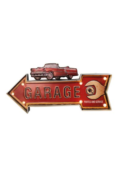 Retro Metallskylt Garage LED Light