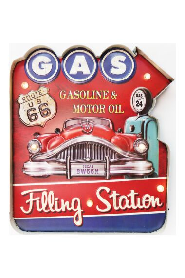 Retro Metallskylt Gas Filling Station LED Light