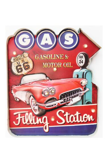 Retro Metall Skylt Gas Filling Station LED Light