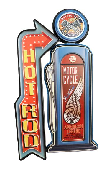 Retro Metallskylt Hot Rod Motorcycle