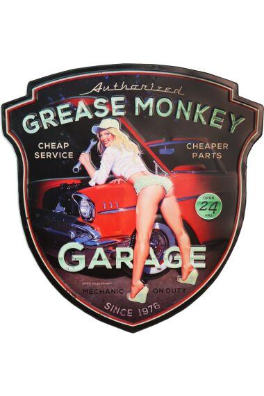 Retro Metallskylt Grease Monkey Garage