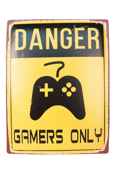 Retro Metallskylt Danger Gamers Only