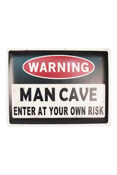Retro Metallskylt Warning Man Cave