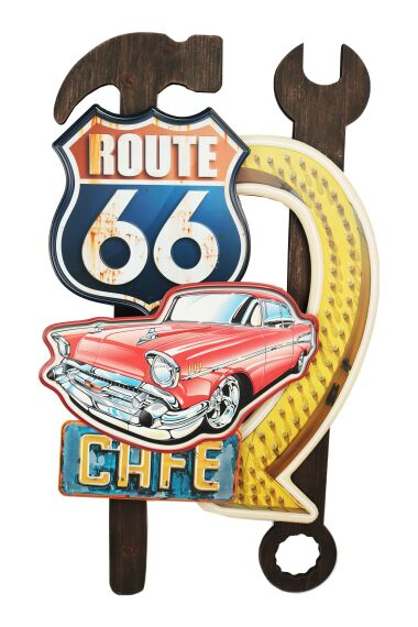 Retro Metallskylt Route 66 Cafe