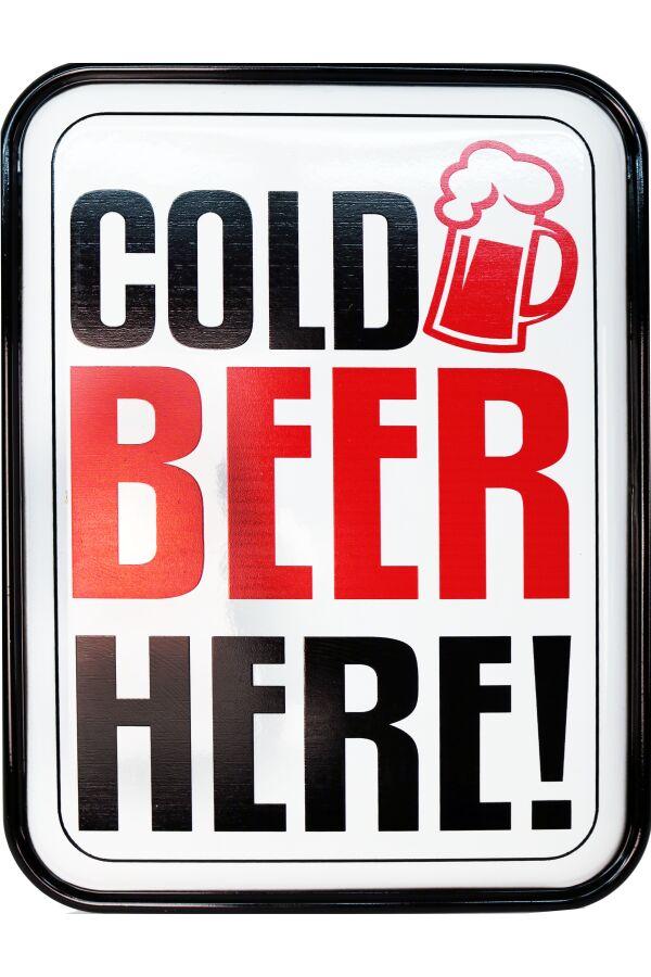 Retro Metallskylt Cold Beer Here