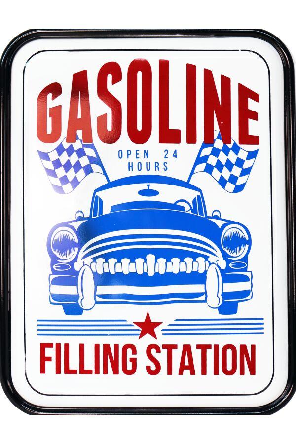 Retro Metallskylt Gasoline Filling Station