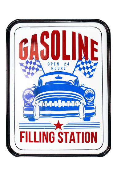 Retro Metallskylt Gasoline Filling Station