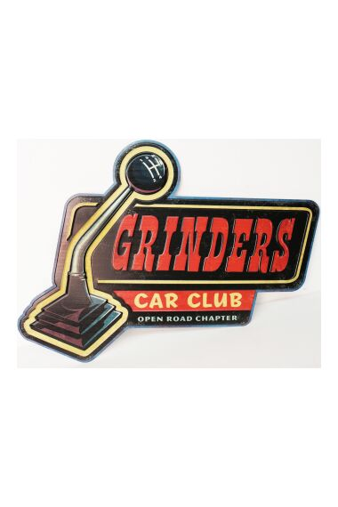 Retro Metallskylt Grinders Car Club