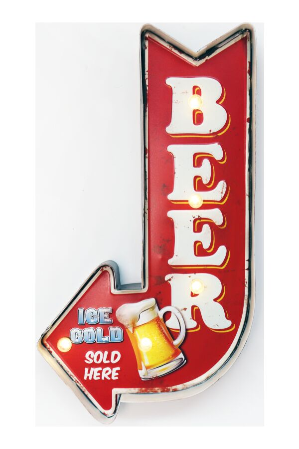 Retro Metall Skylt Ice Cold Beer LED Light