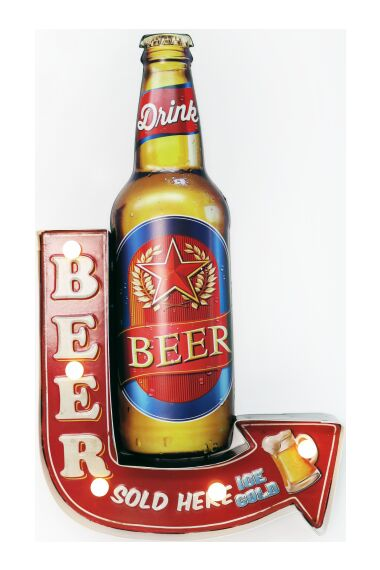 Retro Metallskylt Ice Cold Beer LED Light