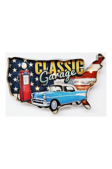 Retro Metallskylt Classic Garage LED Light