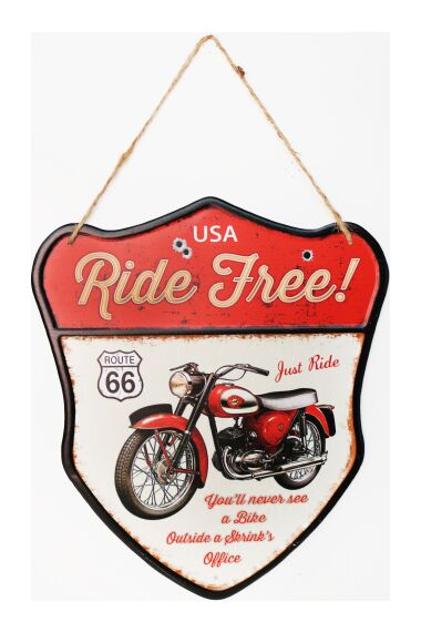 Retro Metall Skylt Ride Free Route 66