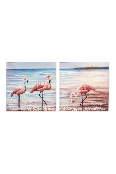 Tavla Oljemålning Flamingos 2 delar