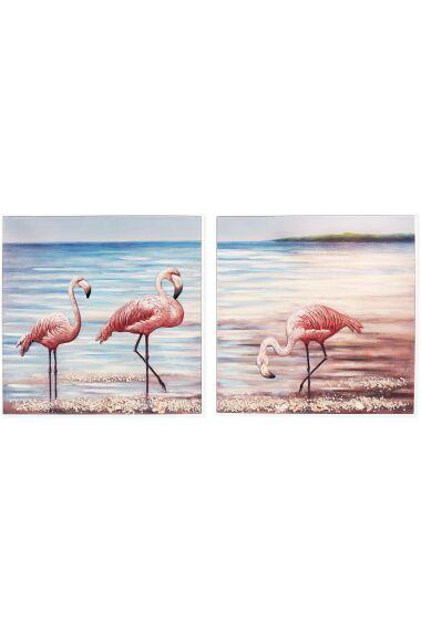 Tavla 3D Oljemålning Flamingos SET/2