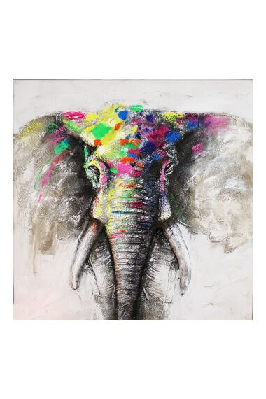 Tavla Oljemålning Elephant