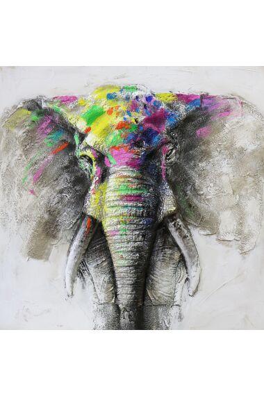 Tavla 3D Oljemålning Elefant