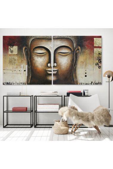 Tavla Oljemålning Buddha Dubbel