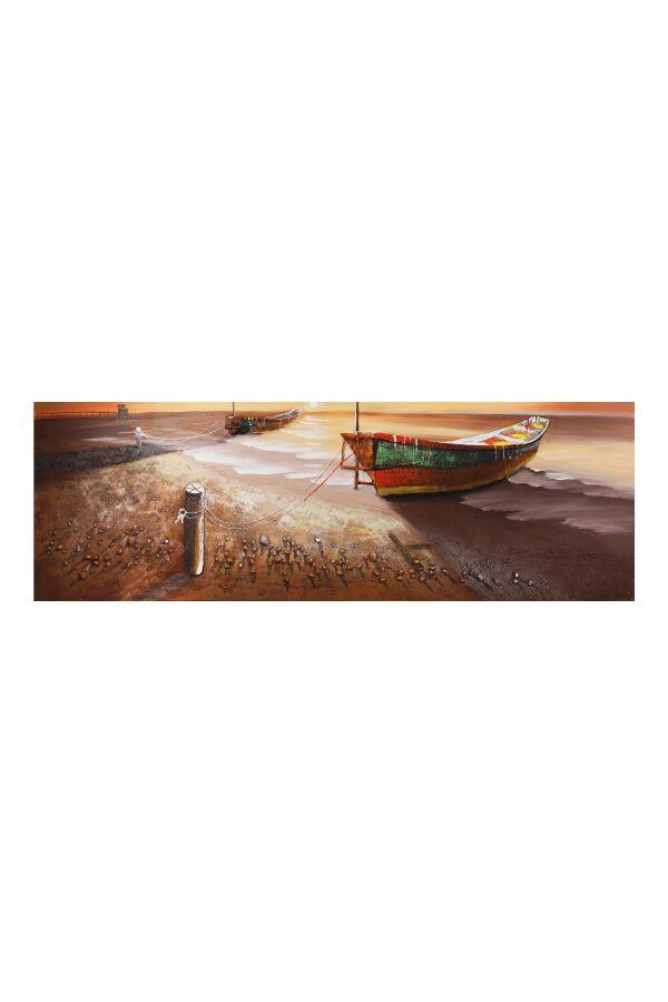 Tavla Oljemålning Boat Sunset