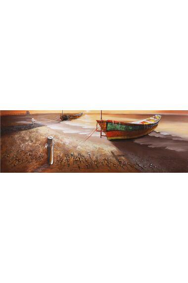 Tavla 3D Oljemålning Boat On The Beach