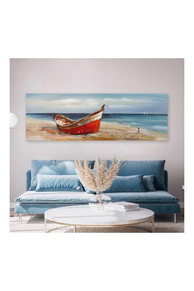 Tavla Oljemålning Boat on the Beach