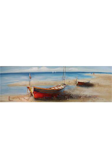 Tavla Oljemålning Boats on the Beach