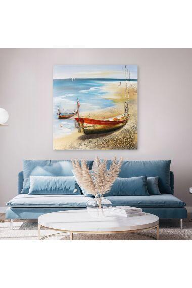 Tavla Oljemålning Fishing Boat