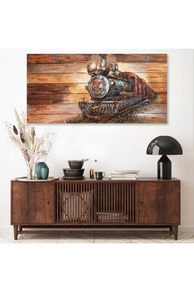 Tavla 3D Oljemålning Train on Wood